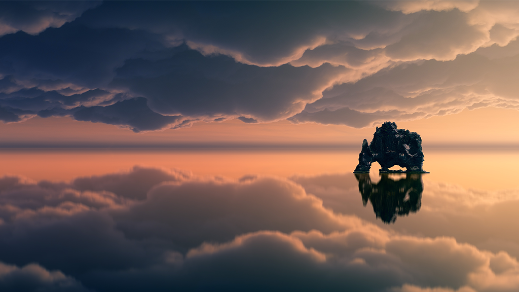 The reflection of the clouds on the sea with a small, mysterious island
