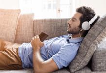 Young men listening to a meditation program