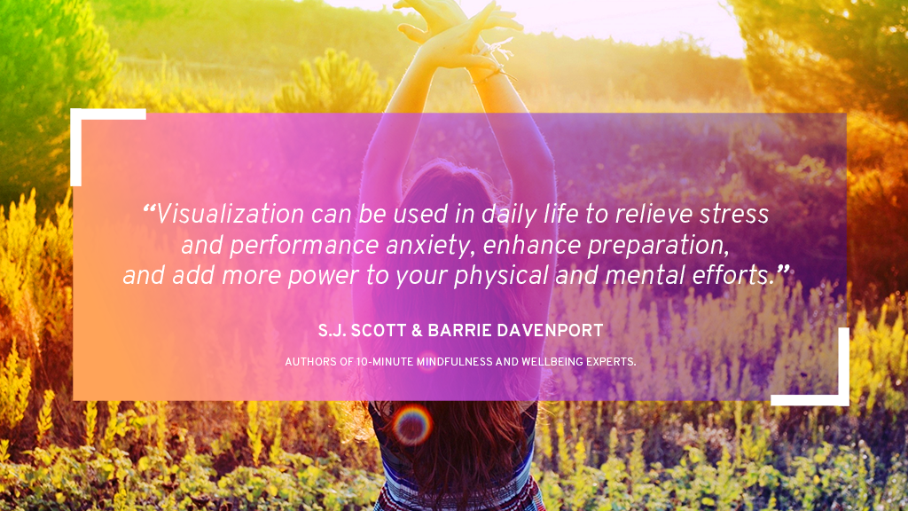 A young woman meditating in nature with S.J. Scott's quote on visualization