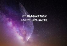 Quote on limits and imagination, on a beautiful purple sky scene and a tree