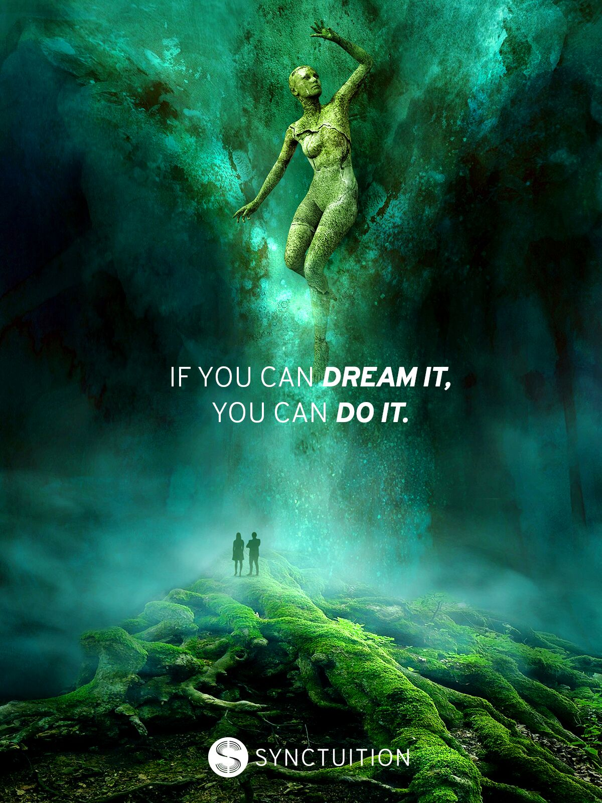 Quote on dreaming with a mesmerizing green view of magical realism