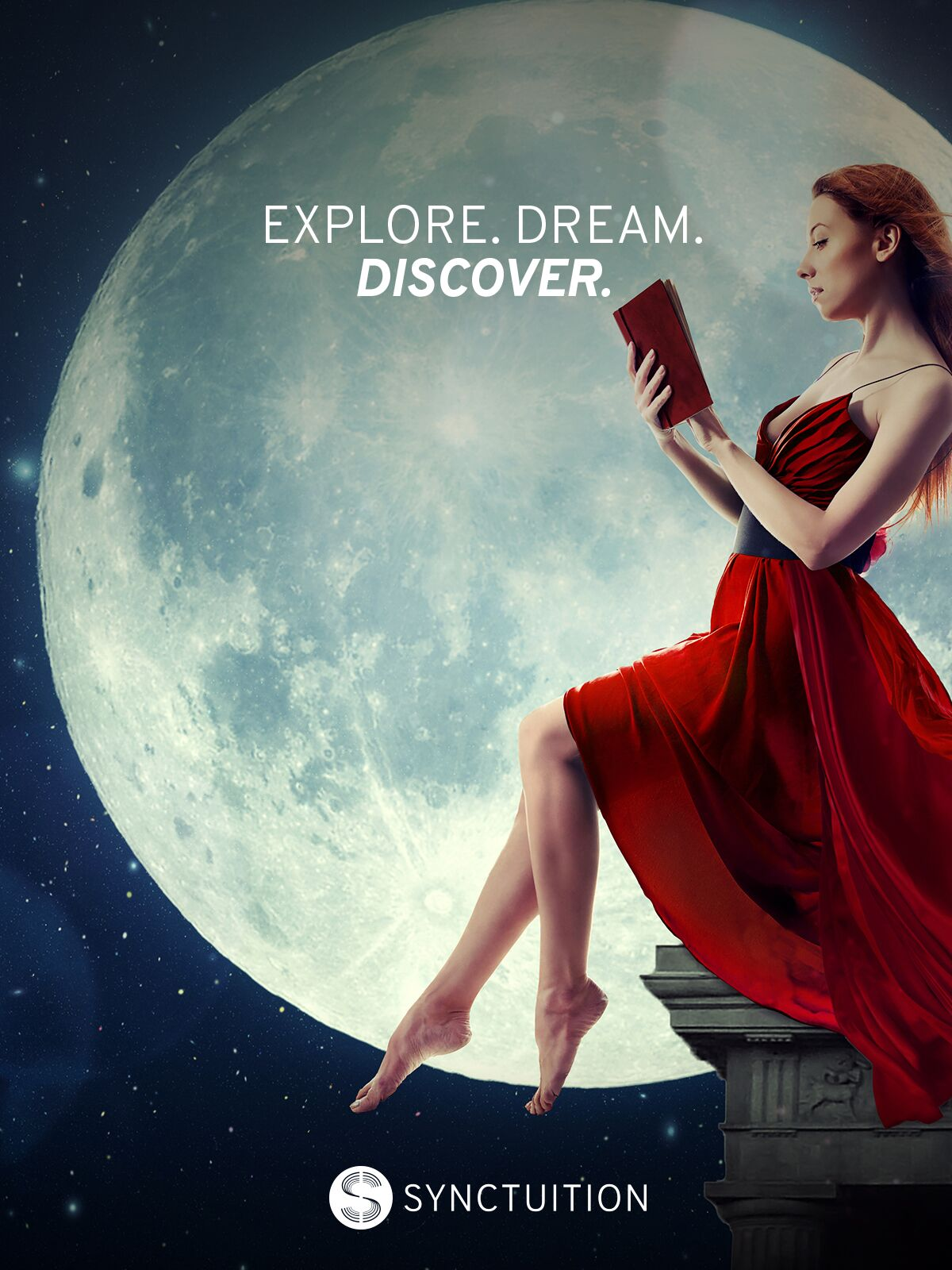 Quote on explorations and dreams with a mesmerizing moon scene and a woman