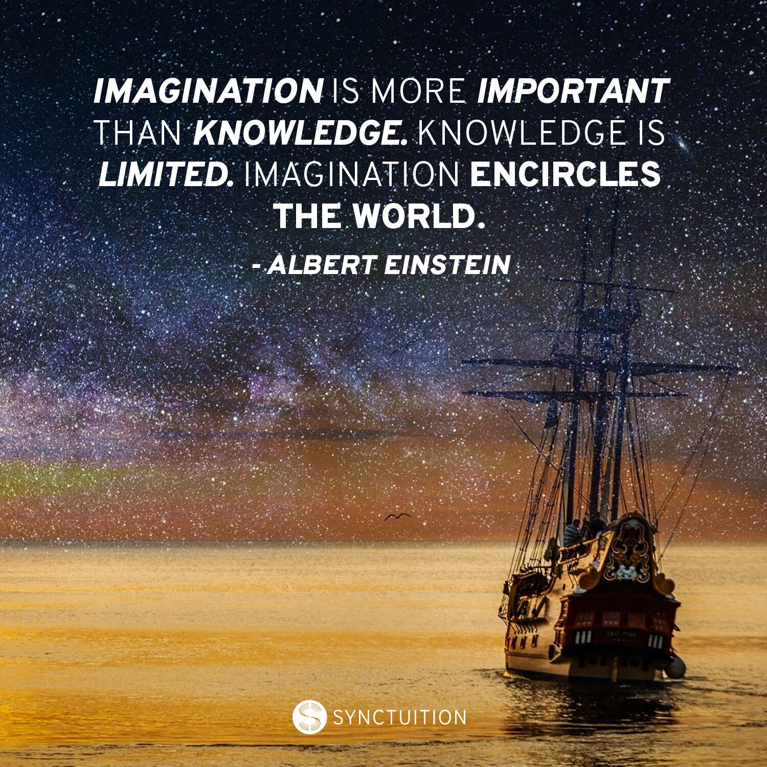 Quote on knowledge and imagination by Albert Einstein on a sea view