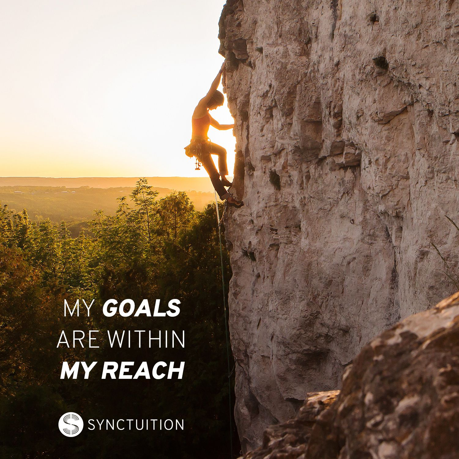 A woman climbing a mountain on a sunny day with the quote