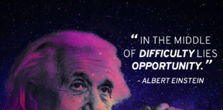 "Einstein quote ""In the middle of difficulty lies opportunity"""