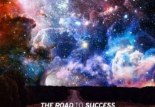 """A mysterious road with a mesmerizing sky scene with the quote """"The road to success is always under construction."""""""