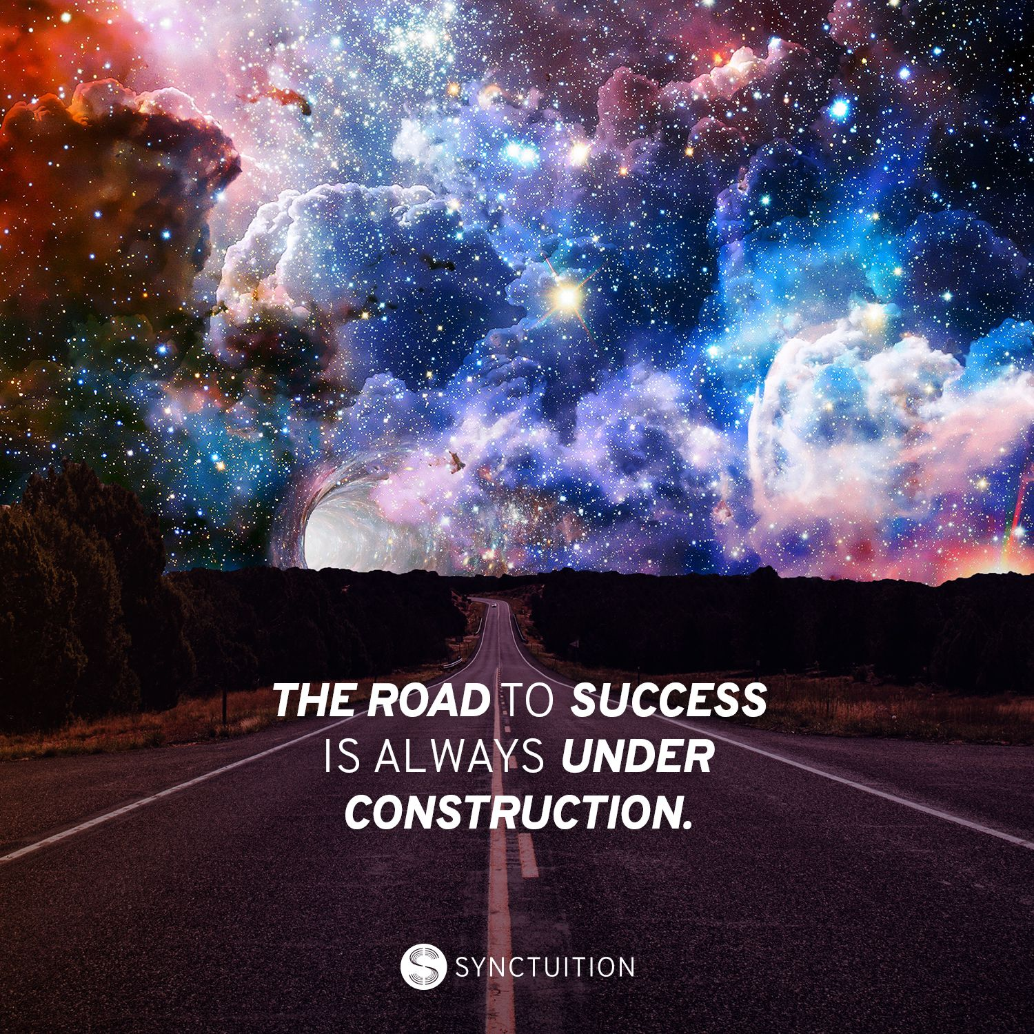 A mysterious road with a mesmerizing sky scene with the quote