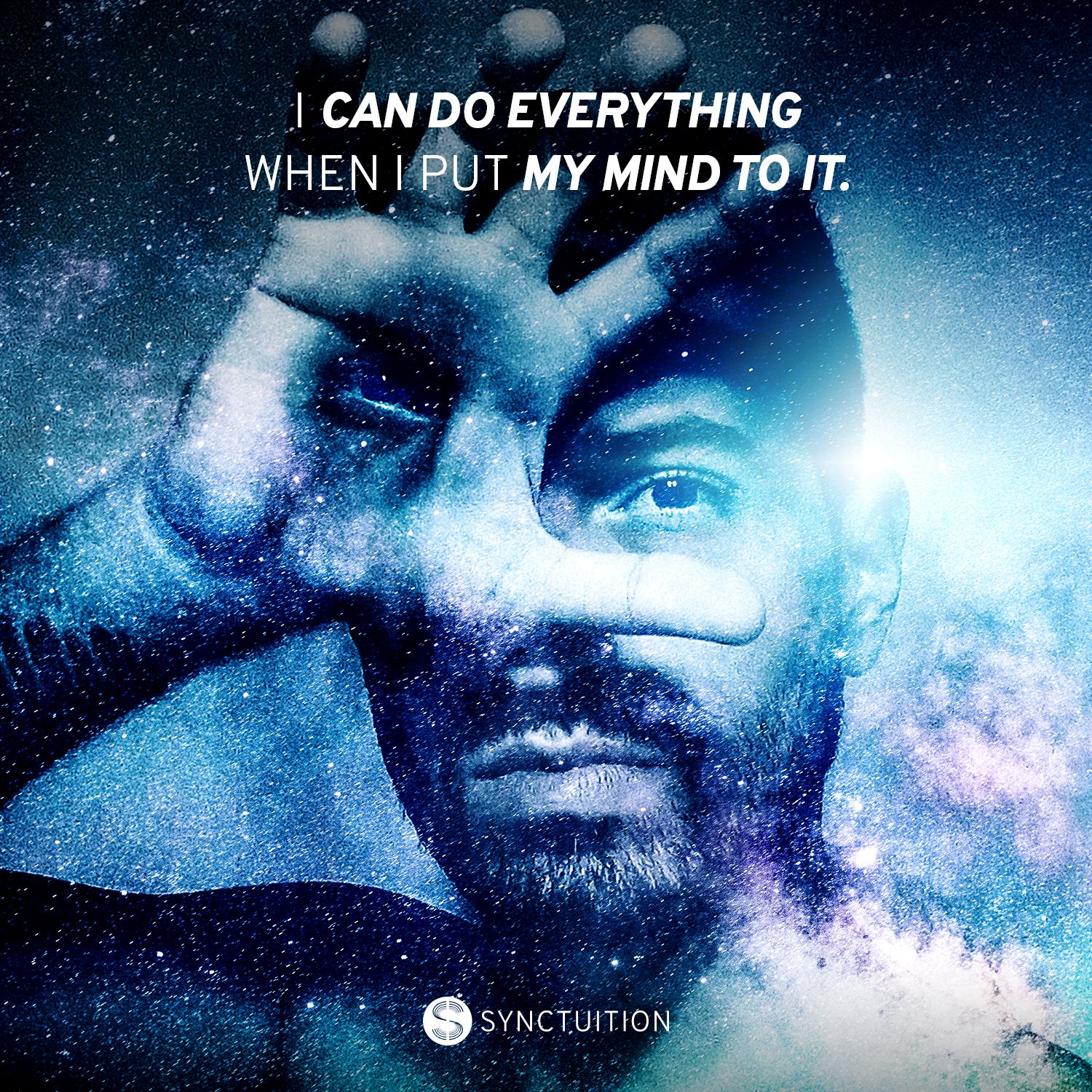 A man with a third eye on his hand with the quote