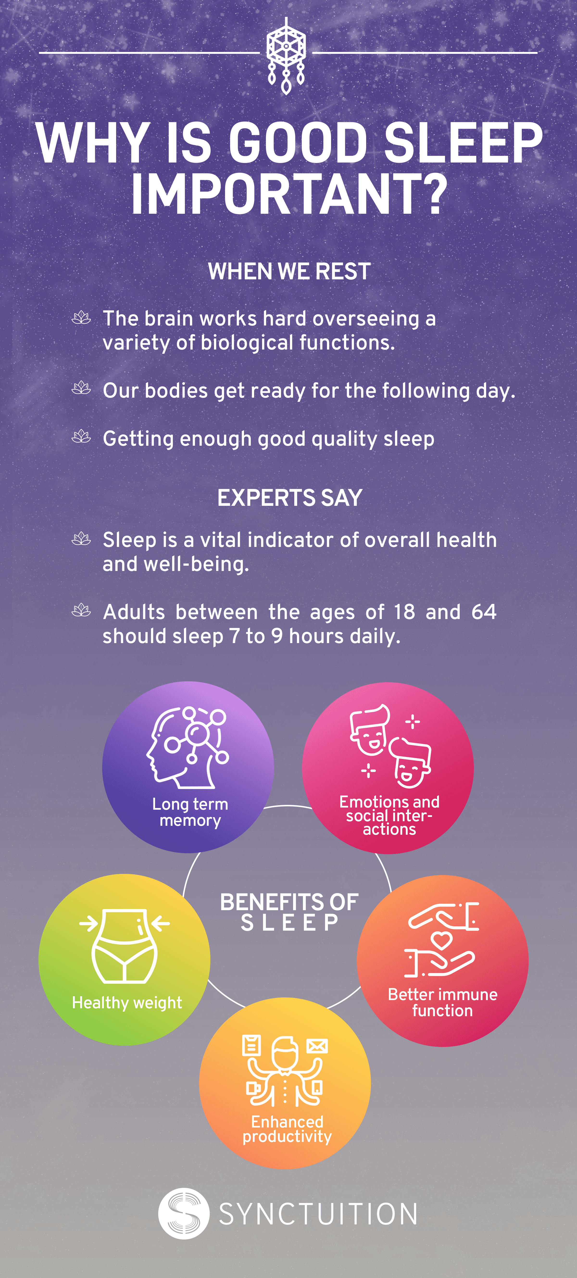 Benefits of sleep Infographic. Benefits of sleep vary from enhanced productivity to healthy weight.